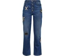 Woman Appliquéd Mid-rise Bootcut Jeans Mid Denim