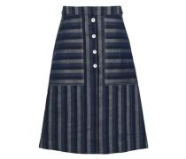Striped Linen And Cotton-blend Skirt Navy