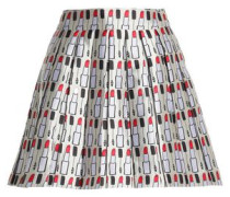 Pleated printed twill mini skirt