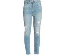 Distressed Mid-rise Slim-leg Jeans Mid Denim  8