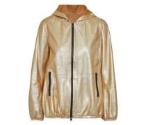 Metallic coated leather hooded jacket