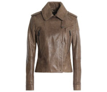 Leather Biker Jacket Taupe