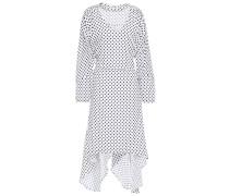 Woman Asymmetric Belted Polka-dot Crepe De Chine Dress Off-white