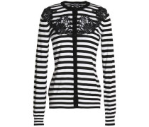 Lace-appliquéd striped silk cardigan