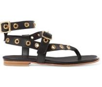Eyelet-embellished leather sandals
