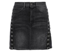 Corset Embellished Denim Mini Skirt Charcoal  3