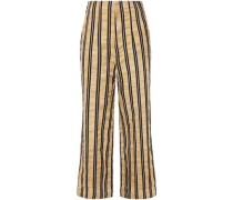 Woman Striped Crinkled Cotton-blend Twill Wide-leg Pants Sand