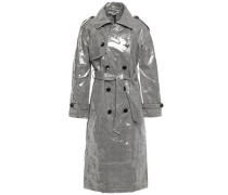 Willia Coated Prince Of Wales Checked  Woven Trench Coat Gray