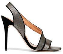 Cora Suede-trimmed Metallic Leather Sandals Brass