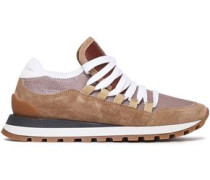 Woman Leather-trimmed Metallic Mesh And Suede Sneakers Light Brown