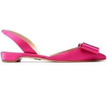 Bow-embellished Satin Slingback Point-toe Flats Bright Pink