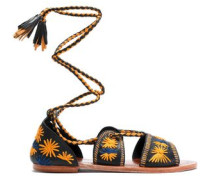 Lace-up embroidered leather sandals