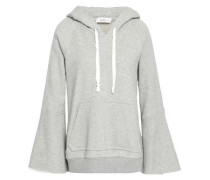 Printed mélange French cotton-terry hoodie