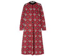 Printed Crepe De Chine Midi Dress Red