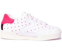 Perforated Faux Leather Sneakers White