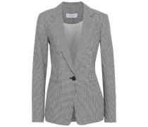 Houndstooth Linen And Cotton-blend Blazer Black Size 0