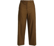 Cropped Linen And Cotton-blend Twill Tapered Pants Army Green