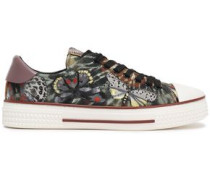 Leather-trimmed Embroidered Tie-dyed Canvas Sneakers Lavender