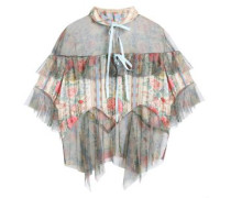 Pleated floral-print satin-jacquard and tulle top