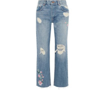 Embroidered Distressed High-rise Straight-leg Jeans Light Denim  6