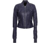 Leather Bomber Jacket Purple