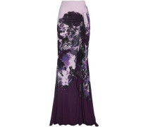 Ruched printed crepe maxi skirt