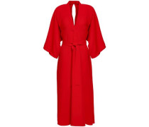 Belted Crepe Midi Dress Red