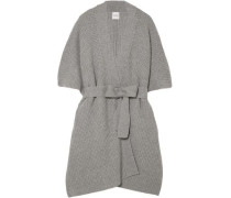 Duck Waffle-knit Wool And Cashmere-blend Cardigan Gray
