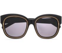 D-frame Gold-tone Acetate Sunglasses Black Size --