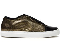 Woman Metallic Cracked And Patent-leather Sneakers Gold