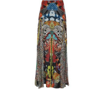 Fluted printed silk-georgette maxi skirt