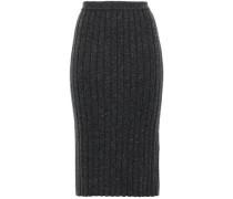 Ribbed Marled Cashmere Skirt Dark Gray