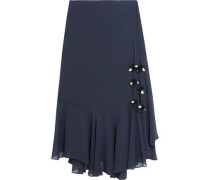 Maxime pompom-embellished silk-georgette skirt