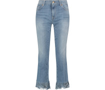 Woman Cropped Mid-rise Bootcut Jeans Light Denim