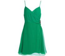 Embellished ruched silk-crepe mini dress