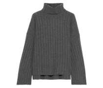 Faux Pearl-embellished Ribbed Cashmere Turtleneck Sweater Gray