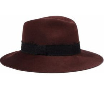 Georgina brushed woven-trimmed wool-felt fedora
