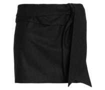 Draped brushed-wool mini skirt