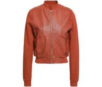 Leather-paneled cotton bomber jacket