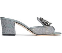 Crystal-embellished Corded Lace Mules Gray