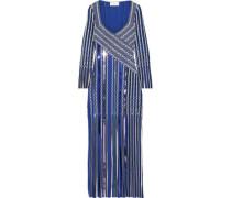 Fringed Sequin-embellished Jacquard-knit Gown Blue
