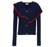 Ruffled Ribbed-knit Cardigan Navy