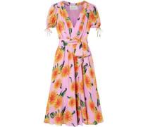 Floral-print Silk Crepe De Chine Wrap Midi Dress Bubblegum Size 0