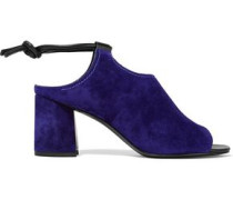 Drum leather-trimmed cutout suede sandals
