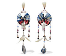 Gold-tone, feather, bead and crystal earrings