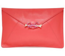 Embellished Leather Clutch Coral Size --