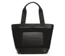 Paneled Leather And Canvas Tote Black Size --