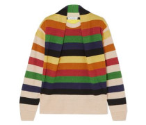 Woman Ruched Striped Linen Sweater Multicolor