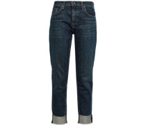 Cropped Faded High-rise Straight-leg Jeans Mid Denim  3