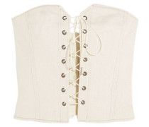 Lace-up shirred denim bustier top